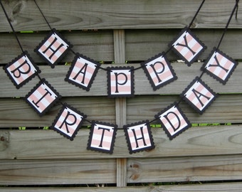Happy Birthday Banner in Black and Coral Peach Stripe - Birthday Party Sign and Birthday Decoration