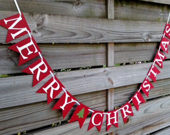 Merry Christmas Banner in Red and White - Christmas Decoration - Christmas Card Photo Prop Banner Sign