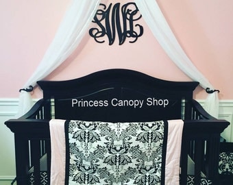 Baby nursery decor, canopy crib bed crown, nursery pink and black, Parisian nursery, custom made bed crown