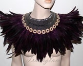 Purple persuasion feathered hand beaded statement bib collar Necklace high fashion boho gypsy fusion over the top evening couture