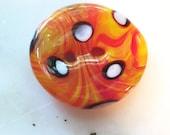 Clown Fish - art glass button - tangerine orange, yellow, black and white polka dot - two hole round
