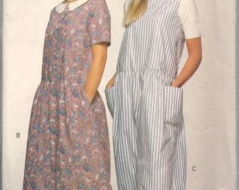 Vintage Very Easy, Very Vogue 8013 Misses/Misses Petite Jumpsuit Lagenlook Size 8, 10, 12 Dropped Waist