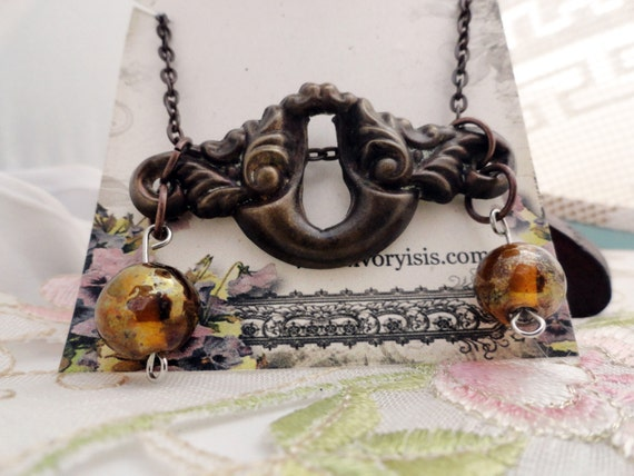 Vintage Art Nouveau Brass Keyhole Necklace with Peach Bauble Charms