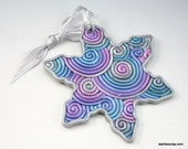 Fimo Snowflake Christmas Ornament in Silver, Teal, Blue, Purple