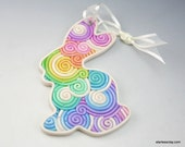 Rainow Easter Bunny Ornament in Pastel Fimo Clay Filigree (Large)