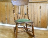 Antique Carved Back Upholstered Seat Rocking Chair • Oak Armless Rocking Chair with Green Seat
