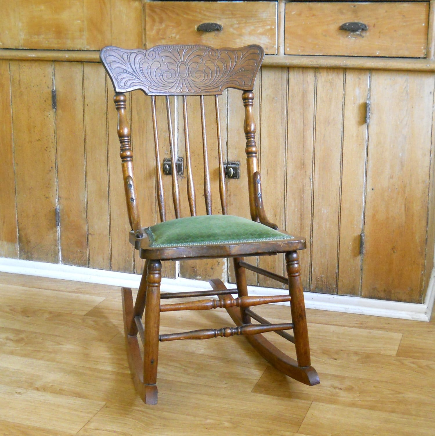 ... rocking chair oak armless rocking chair with green seat great vintage