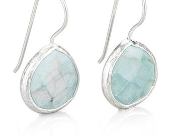Facetedly cut Turquoise Drop Earrings in Silver