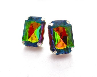 Colorful Vitrail Acrylic Rhinestone Stud Earrings, Rainbow Rhinestone Earrings, Acrylic Rhinestone Stud Earrings, Rainbow Stud Earrings