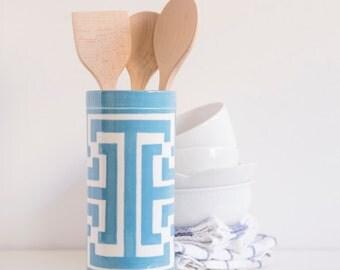 ON SALE, Handmade, Ceramic, Vase , Luxury, Gift, Gold Edged, Blue, Greek Key