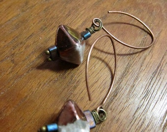 Rustic Copper Raku Earring