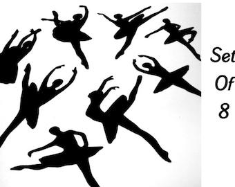 Ballerina Dancing Silhouettes Die Cuts Set of 8