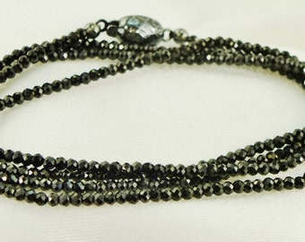 Sparkly Black Spinel Necklace Chain Custom Layering Strand Blackened Sterling Silver, Versatile, Diamond-like, Elegant Gemstone, Minimalist