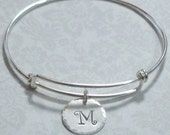 Sterling Silver Personalized Adjustable Initial Charm Bangle Bracelet - Expandable Bangle Bracelet - Adjustable Stacking Bracelet