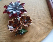 lot of 2 vintage enamel flower pins brown rhinestone and grey and red pins - vintage costume jewelry