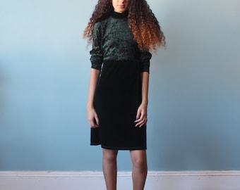 green velvet dress / burnt velvet emerald party dress / 1990s / xs - small