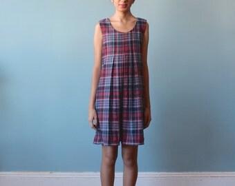 wool plaid babydoll dress / blue red wool mini dress / 1970s / small