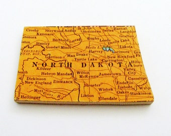 1940s North Dakota Brooch - Pin / Unique Wearable History Gift Idea / Upcycled Vintage Wood Jewelry / Timeless Gift Under 25