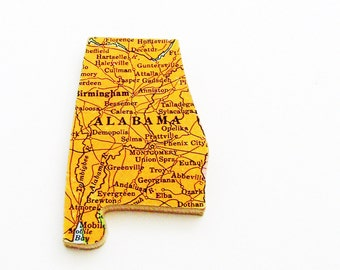 1940s Alabama Brooch - Pin / Unique Wearable History Gift Idea / Upcycled Vintage Wood Jewelry / Timeless Gift Under 25