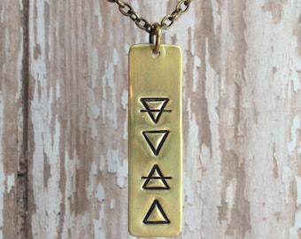 Four Elements Alchemy Bar Necklace - Brass