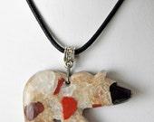 Michigan puddingstone bear pendant necklace jewelry hand carved  unisex Drummond Island stone artist created