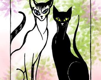 Siamese Cat Art, DIY Art Print Your Own Downloadable Art, Animal Nursery Art, Printable Wall Art Oriental Shorthair Illustration Digital