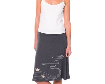 Unique Gift for Women, Womens Cute Skirts, Pull On Skirt, Grey Knee Length A line Jersey Midi Skirt - The creek and the paper boats