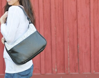 Black Leather and Eyelet Lace Purse -  Boho Shoulder Bag - Ladies Handbags - womens leather shoulder bag- Handmade Leather purse