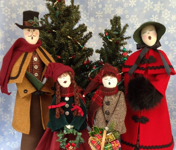 Mailed Cloth Doll Patterns Special Priced Christmas Caroler Family