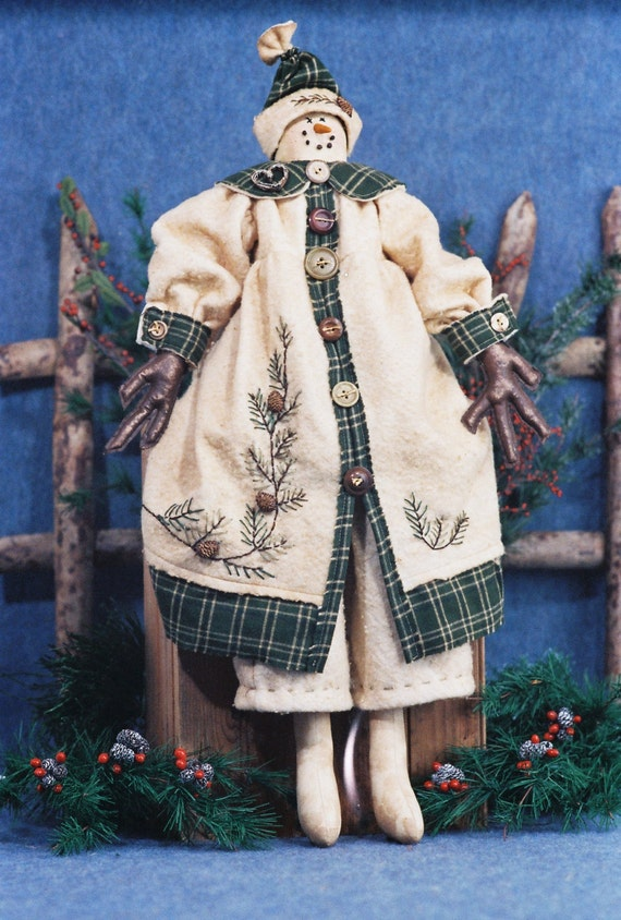 Mailed Cloth Doll Pattern- 25in Christmas Snowgirl Doll