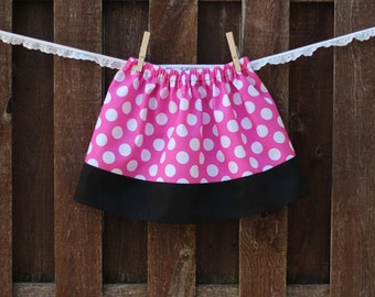 Minnie Mouse Skirt, Girls Pink Polka Dot Skirt