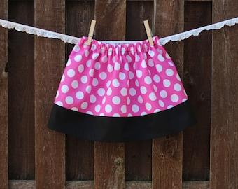 Minnie Mouse Skirt, Girls Pink Polka Dot Skirt