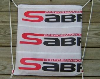 Sabre2 Parachute Logo Drawstring Backpack : Red Lining, Interior Pocket, Key Loop