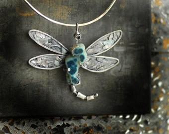 Dragonfly Insect Wing Necklace Pendant Statement Jewelry Blue Chrysocolla Stalactite 1st Anniversary Graduation Gift Paper Jewelry Sculpture