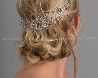 Boho Rhinestone Hair Vine, Bridal Headband, Bridal Hair Vine, Rhinestone Headpiece - Miriam
