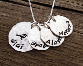 Hand Stamped Necklace - Personalized Jewelry - Gigi Necklace - Grandmother Jewelry