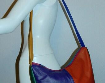 vintage 1980s leather color block bag / patchwork crescent / oversized leather HOBO shoulder purse