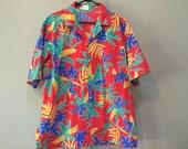 Mens Vintage Hawaiian Shirt, Palm Trees Primary Colors Tropical Print Red Short Sleeve Button Down Shirt Vintage 60s Mad Men Don Draper L XL