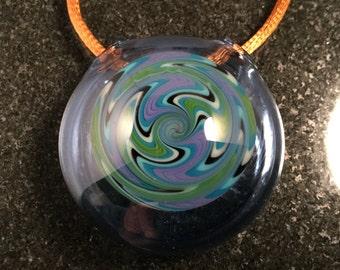 Handblown Glass Wigwag Hollow Pendant Bead --- Majestic Glass Arts ---