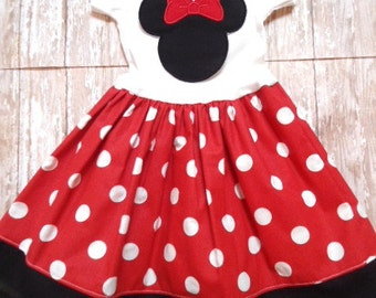 MINNIE MOUSE, disney dress, birthday minnie party dress, red dot, girls minnie mouse dress, first birthday party, minnie party dress