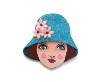 Jazz Age Girl Fabric Brooch, Felt Brooch, Art Brooch, Wearable Art Jewelry, Mother's Day Gift