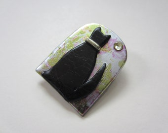 Black Cat in an arched window pin brooch