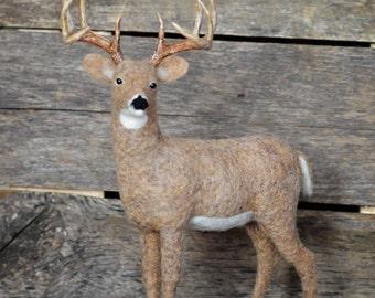 Wildlife Felted Sculpture | Whitetail Buck |  Needle Felted Deer