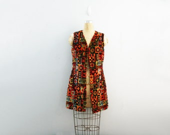 vintage 60s Colorful Floral Tapestry Fabric Vest Duster Ladies M