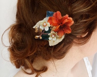 fall hair clips, orange and navy hair flower, fall wedding, orange hair flower, navy bridal hair accessory, rustic wedding, autumn wedding