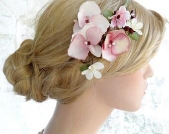 bridal headband, floral bridal headband, bridal hairpiece, wedding headpiece flower, burgundy hair accessories, pink hair flower headpiece