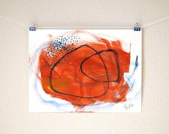 "Terracotta Orange Original Acrylic Painting on Paper Burnt Orange Boho Art Earthy Decor Mexican Art Modern Abstract Bohemian Wall Art 8""x10"""