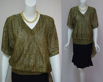 Vintage gold and black lurex blouse Metallic gold lamé blouse Dolman sleeves Waist tie Pullover style blouse Size small Made in USA
