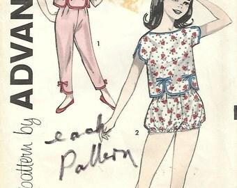 1950s Advance 9216 Vintage Sewing Pattern Girls Pajamas, Shortie Pajamas Size 12