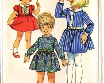 1960s Simplicity 7789 Vintage Sewing Pattern Girl's Party Dress Size 5